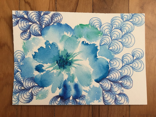 Zentangle watercolor flower, watercolour flower