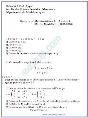epreuve de mathématiques I  Algèbre I smpc s1