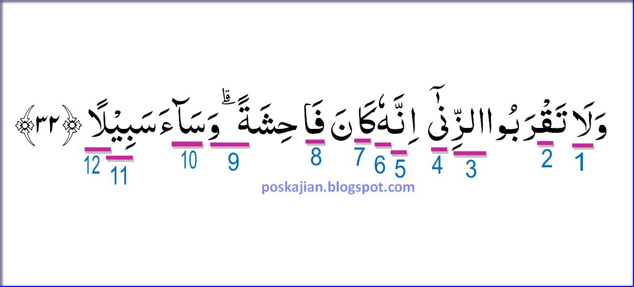 Hukum Tajwid Al Quran Surat Al Isra Ayat 32 Lengkap Latin Penjelasan