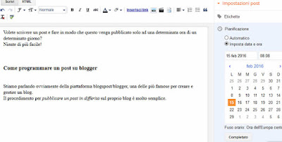 Come programmare un post su blogger