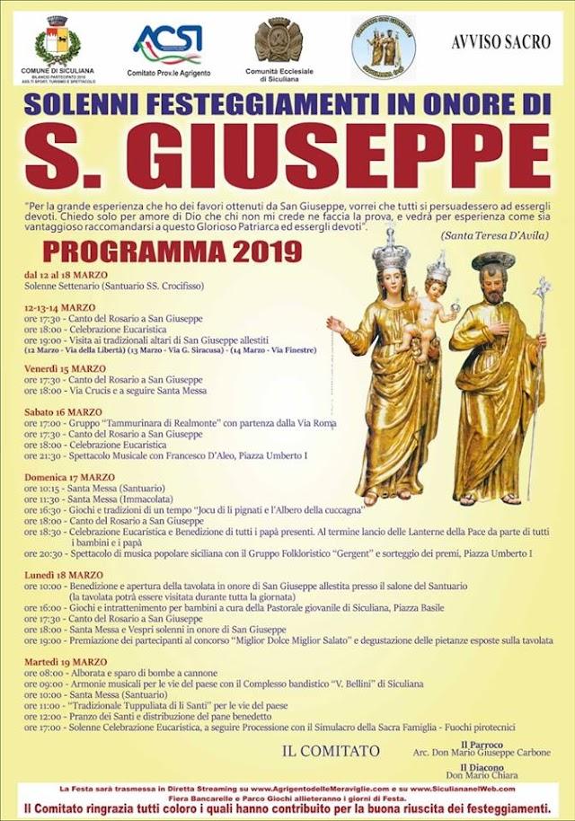 Festeggiamenti di San Giuseppe a Siculiana, dal 12 al 19 Marzo 2019