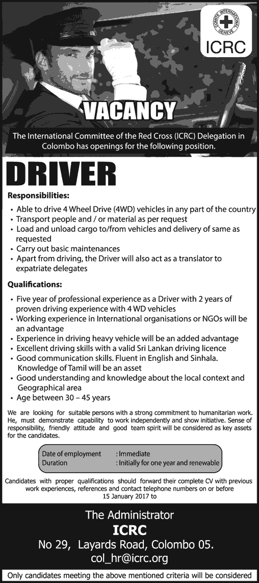 Vacancies] Driver - International Committee of the Red Cross