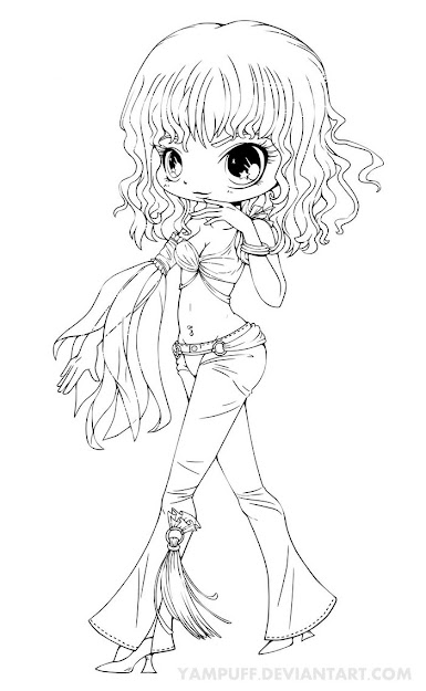 Cute Chibi Coloring Page