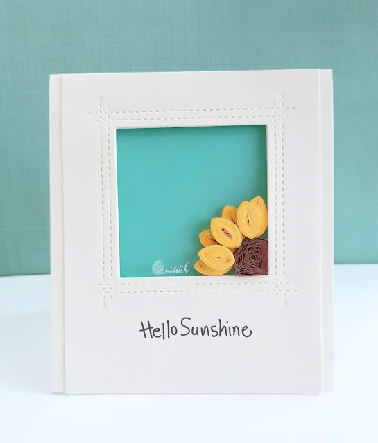 quilling, quilled flowers, CAS card, IQCG, Quillish, paper quilling, quilling strips, paperart, easy quilling, easy quilled card, easy quilled flower, indian quilling challenge, quilling by ishani, cards by ishani, sunflower quilling, sunflower card