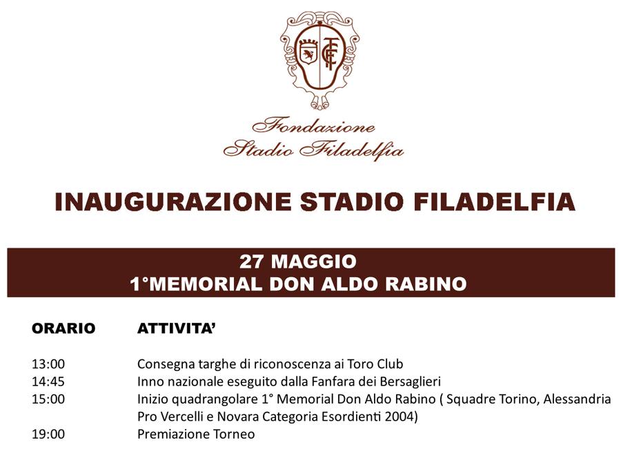 programma inaugurazione memorial filadelfia torino 27 maggio
