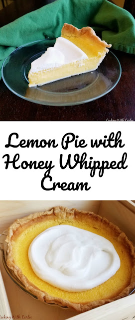 A smooth and luscious lemon pie topped with honey whipped cream is just what a hot day calls for.  This may be your new favorite summer pie.
