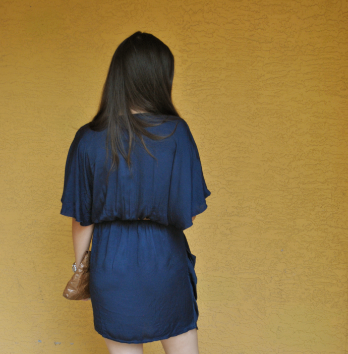 brown flats outfit, love navy batwing wrap dress, inlovewithfashion