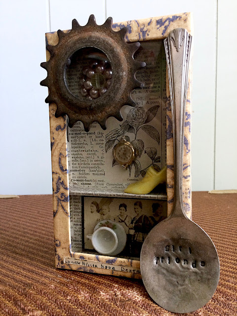 """Girlfriends"" assemblage art by Denise Cerro"