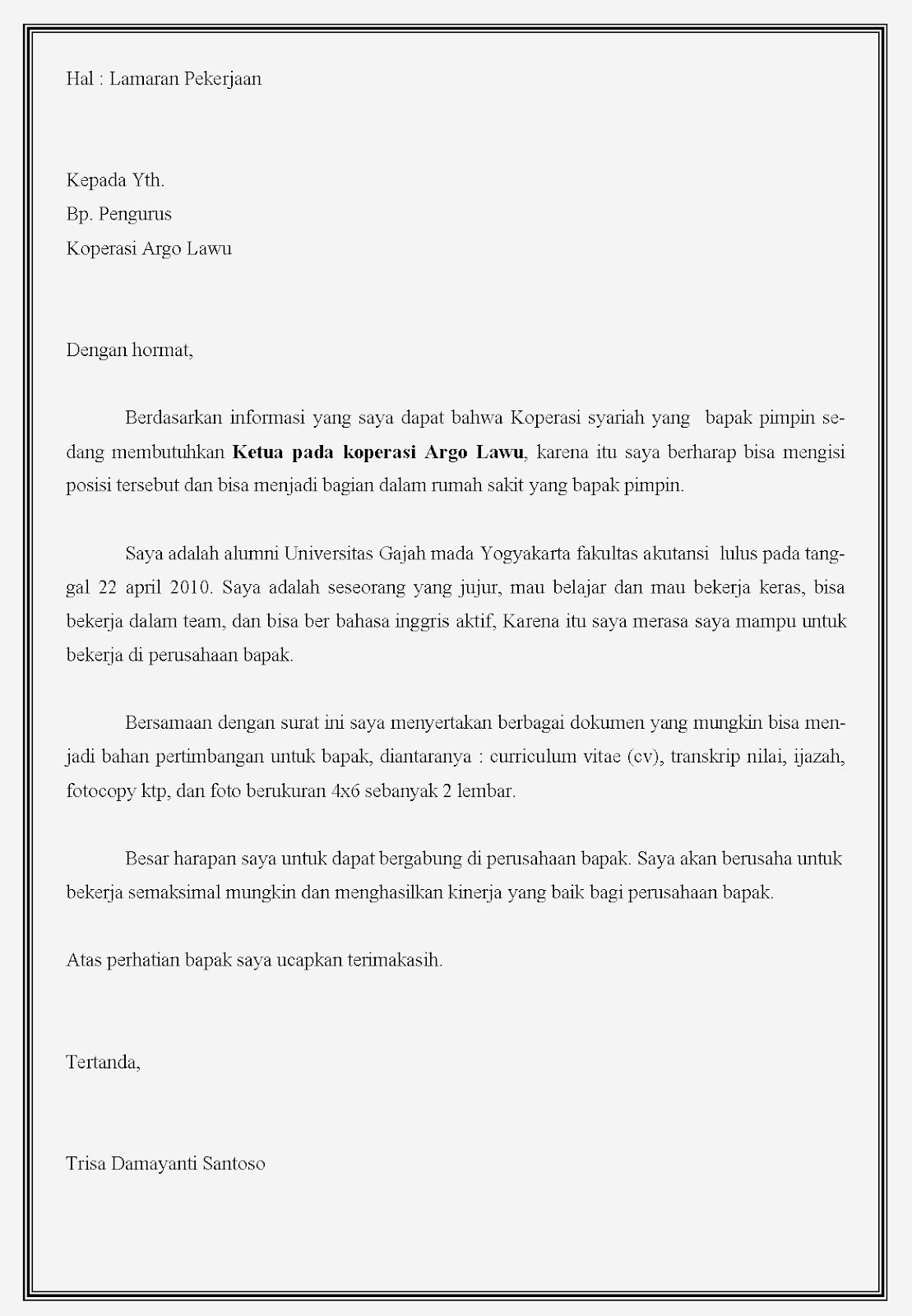 Contoh surat lamaran kerja Koperasi sebagai ketua