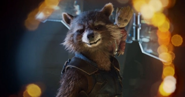 Baby Groot y Rocket en Guardianes de la Galaxia 2