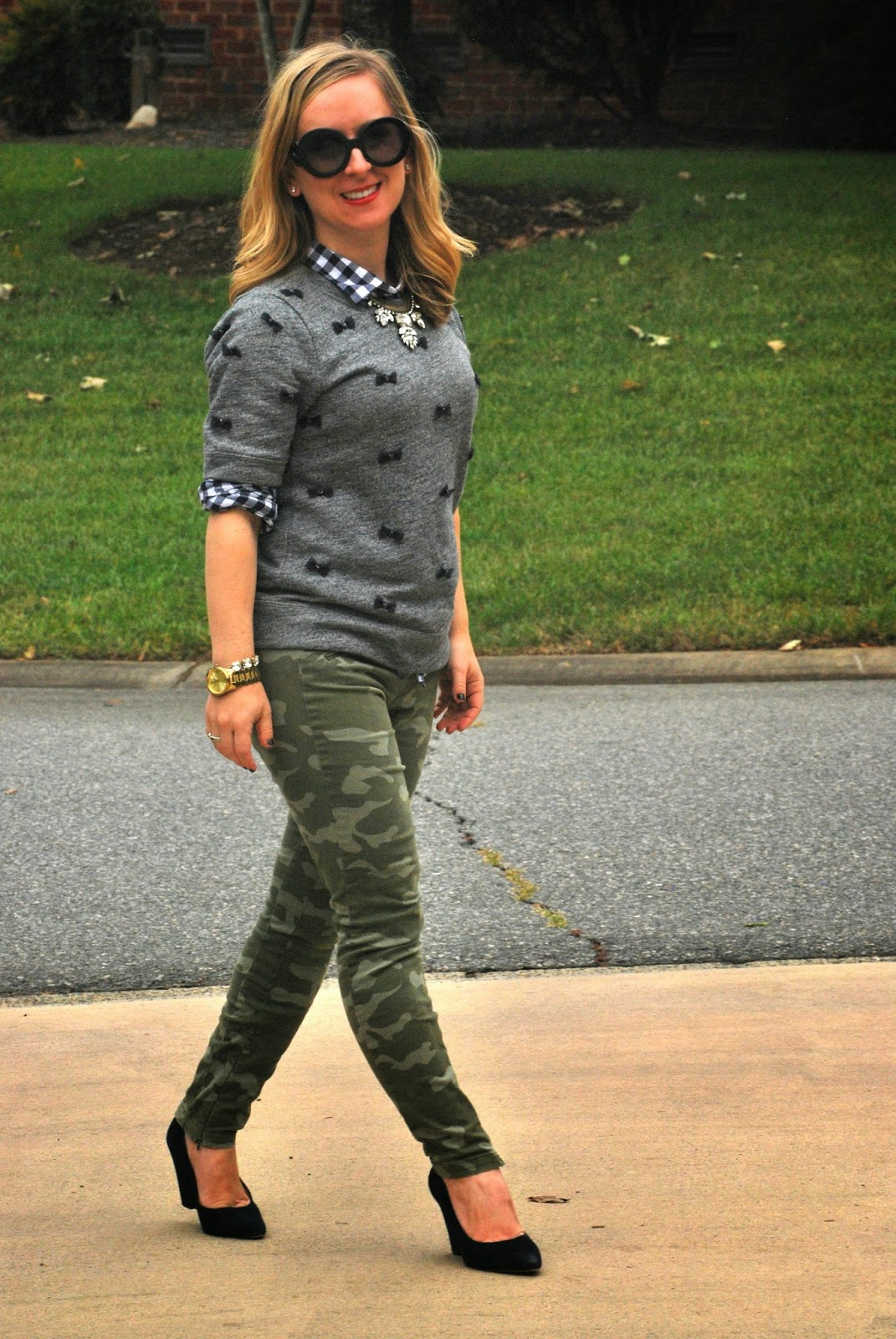 Fall Trends, camo print, jcrew, bow sweatshirt, loren hope