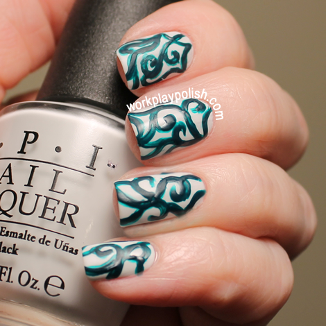 OPI My Boyfriend Scales Walls with Acrylic Green Paint and Matte Topcoat