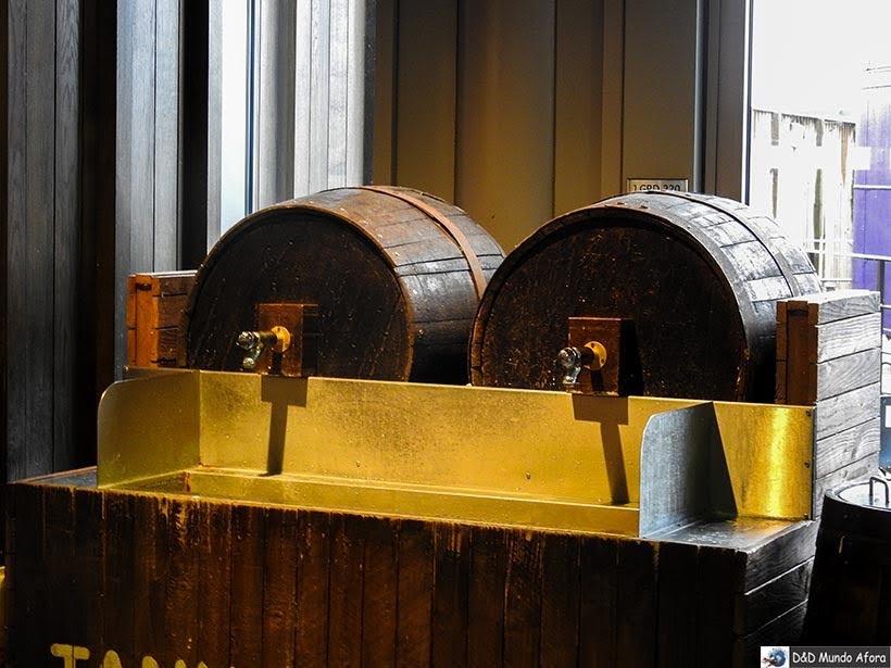 Barril de cerveja amanteigada na Praça de alimentação na Warner Bros de Londres