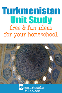 This Turkmenistan unit study is packed with activities, crafts, book lists, and recipes for kids of all ages! Make learning about Turkmenistan in your homeschool even more fun with these free ideas and resources. #turkmenistan #homeschool