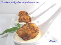 Bocaditos de pollo y lima con mahonesa de lima