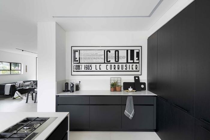Thiết kế nội thất căn hộ chung cư 150m2 với hai màu đen trắng- 8