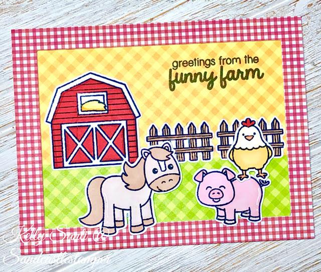 Sunny Studio Stamps: Barnyard Buddies Customer Card by Kelly Santi