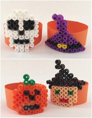 Hama bead napkin rings for Halloween