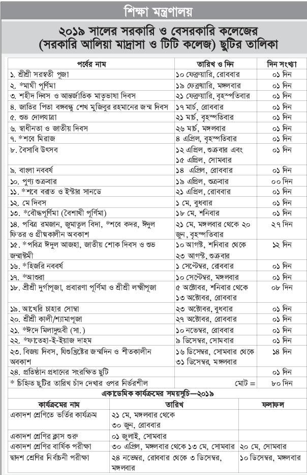 ২০১৯-সালের-কলেজের-ছুটির-তালিকা-এবং-একাডেমিক-ক্যালেন্ডার
