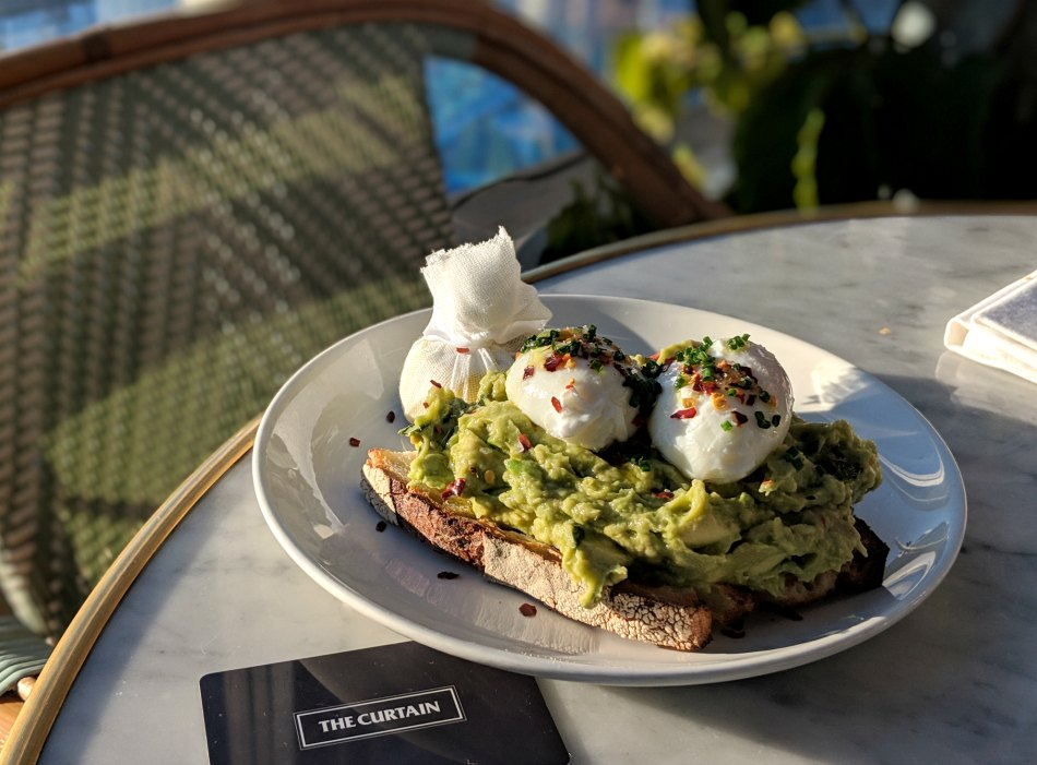 The Curtain Hotel Shoreditch avocado and eggs on toast