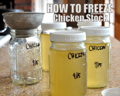 How to Freeze Stock in Glass Canning Jars, another One Quick Tip ♥ KitchenParade.com.