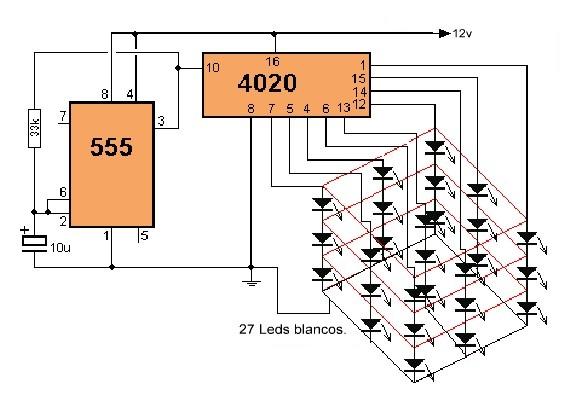 Cubo LED 3X3X3.