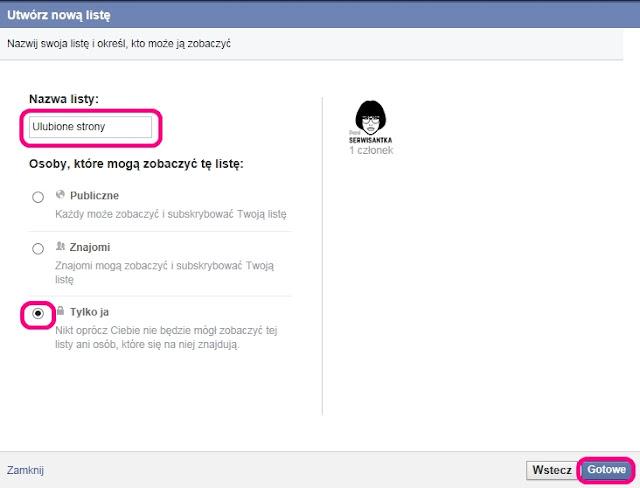 Tworzenie listy zainteresowań na Facebooku