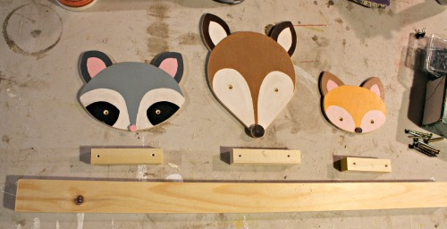 assemble animal faces with dowel spacer