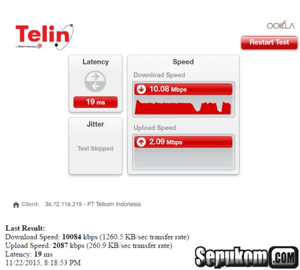 Bandwidth Jaringan Internet Speedtellin satuan megabit