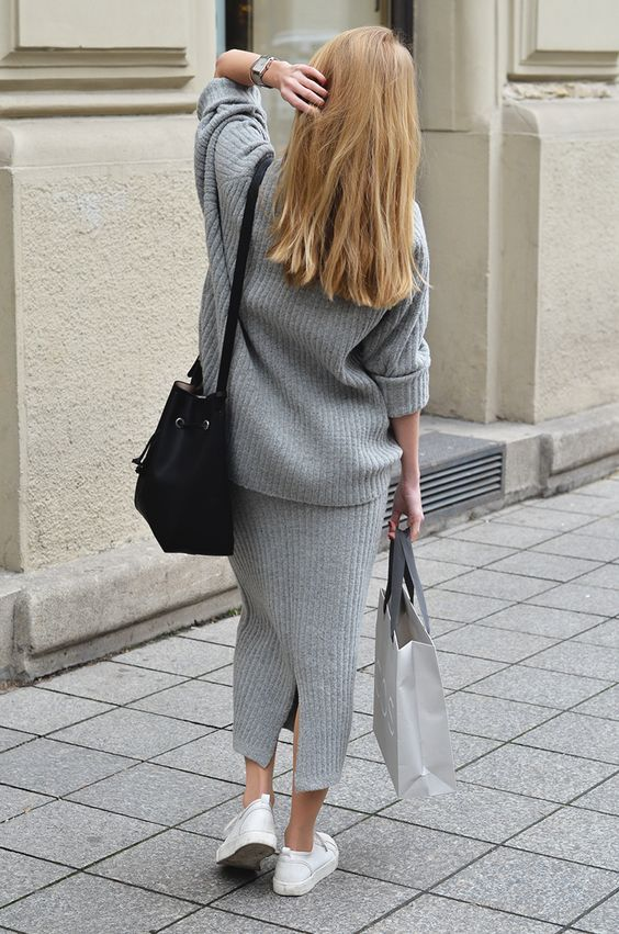 grey, two piece, fashion blogger, outfit post, ootd, fifty pairs of shoes