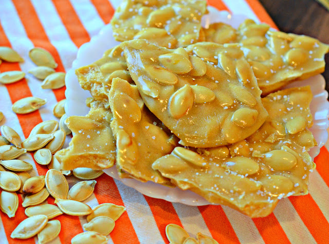 Pumpkin Seed Brittle made just like traditional peanut brittle but with roasted pumpkin seeds instead of peanuts.