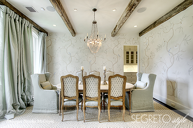 Soft blue accents in an exquisite #FrenchCountry dining room with handpainted walls finished by Segreto