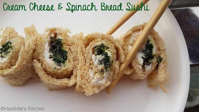 cream cheese and spinach bread sushi recipe