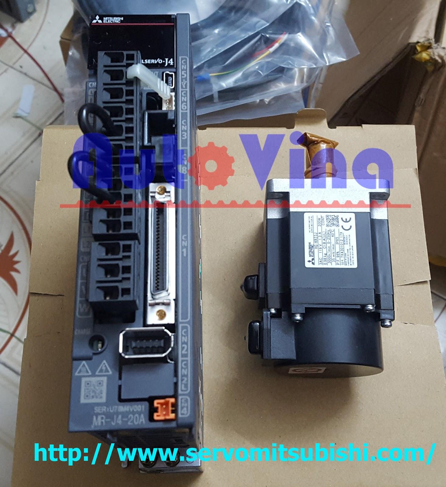 Đại lý bán bộ điều khiển Servo Amplifier Mitsubishi MR-J4-20A và động cơ HG-KR23J