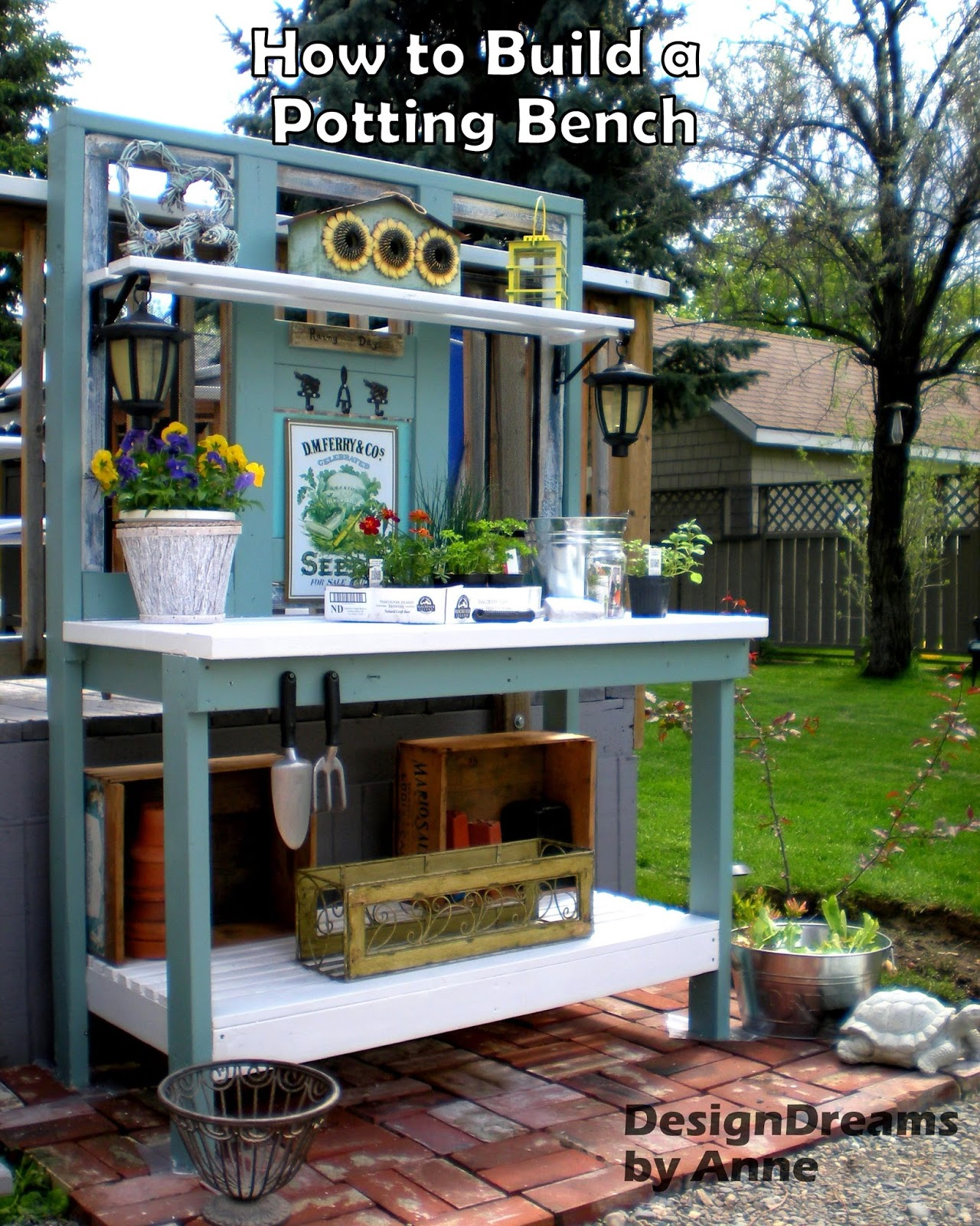 potting for homebnc ideas and bench best cute herb hole garden cubby designs a