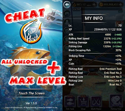 Cheat Fishing Hook Max level & all unlocked
