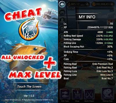Cheat Fishing Hook Max level & all unlocked