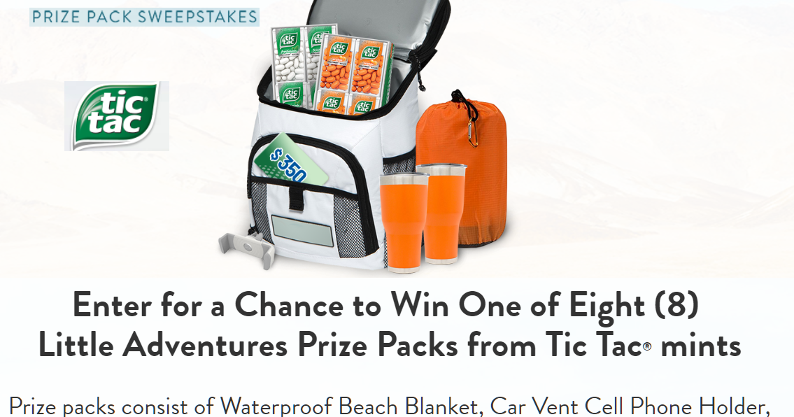 Tic Tac Adventures Prize Pack Giveaway - 8 Winners  Win a $350 Gift