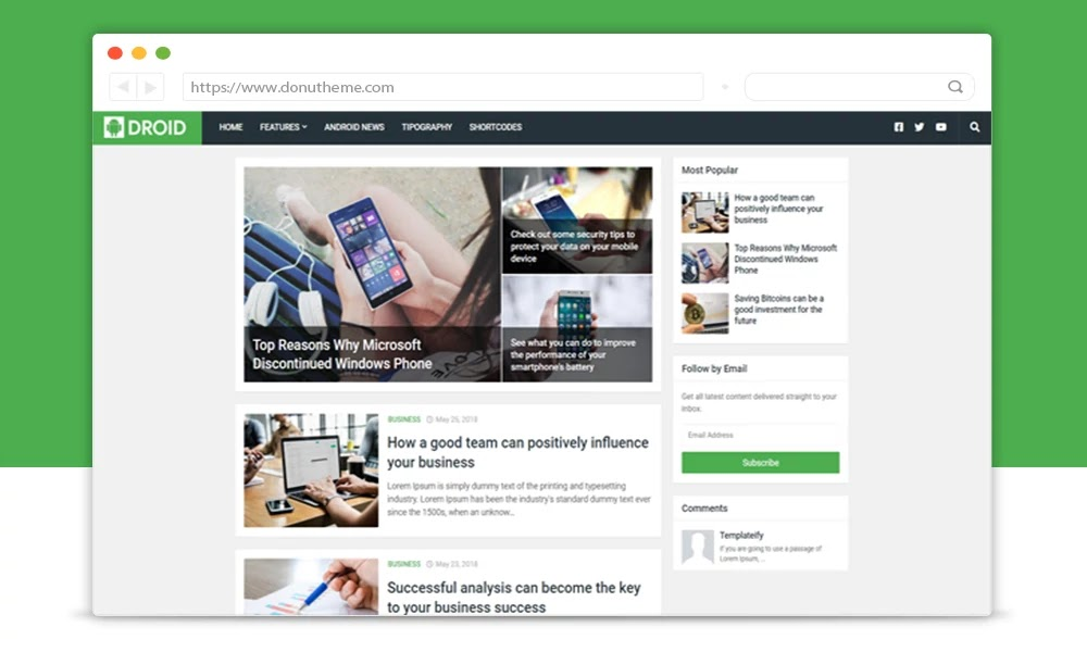Droid Responsive Blogger Template
