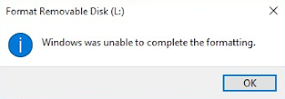 Windows was unable to complete the formatting flashdisk