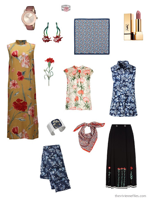 clothing and accessories with carnation motifs