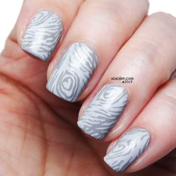 xoxoJen's swatch of Atomic Polish H (Hydrogen) nailart stamping