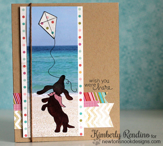 Wish you were Here Dachshund card by Kimberly Rendino | Delightful Doxies stamp set by Newton's Nook Designs