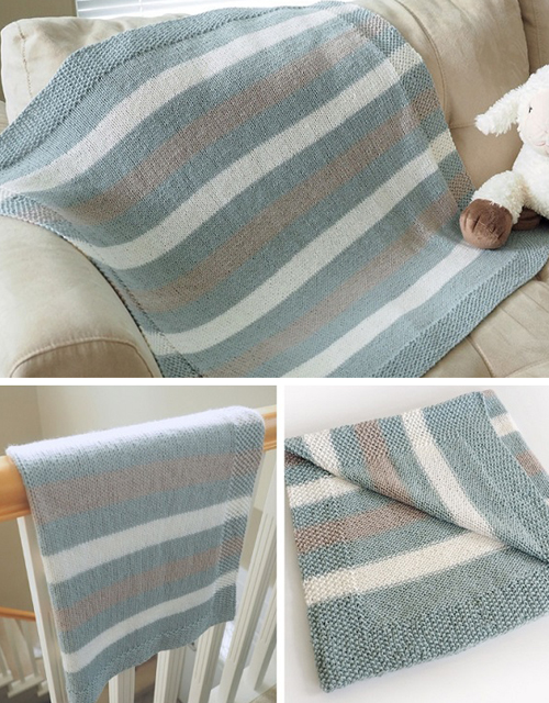 Easy Striped Baby Blanket - Free Knitting Pattern