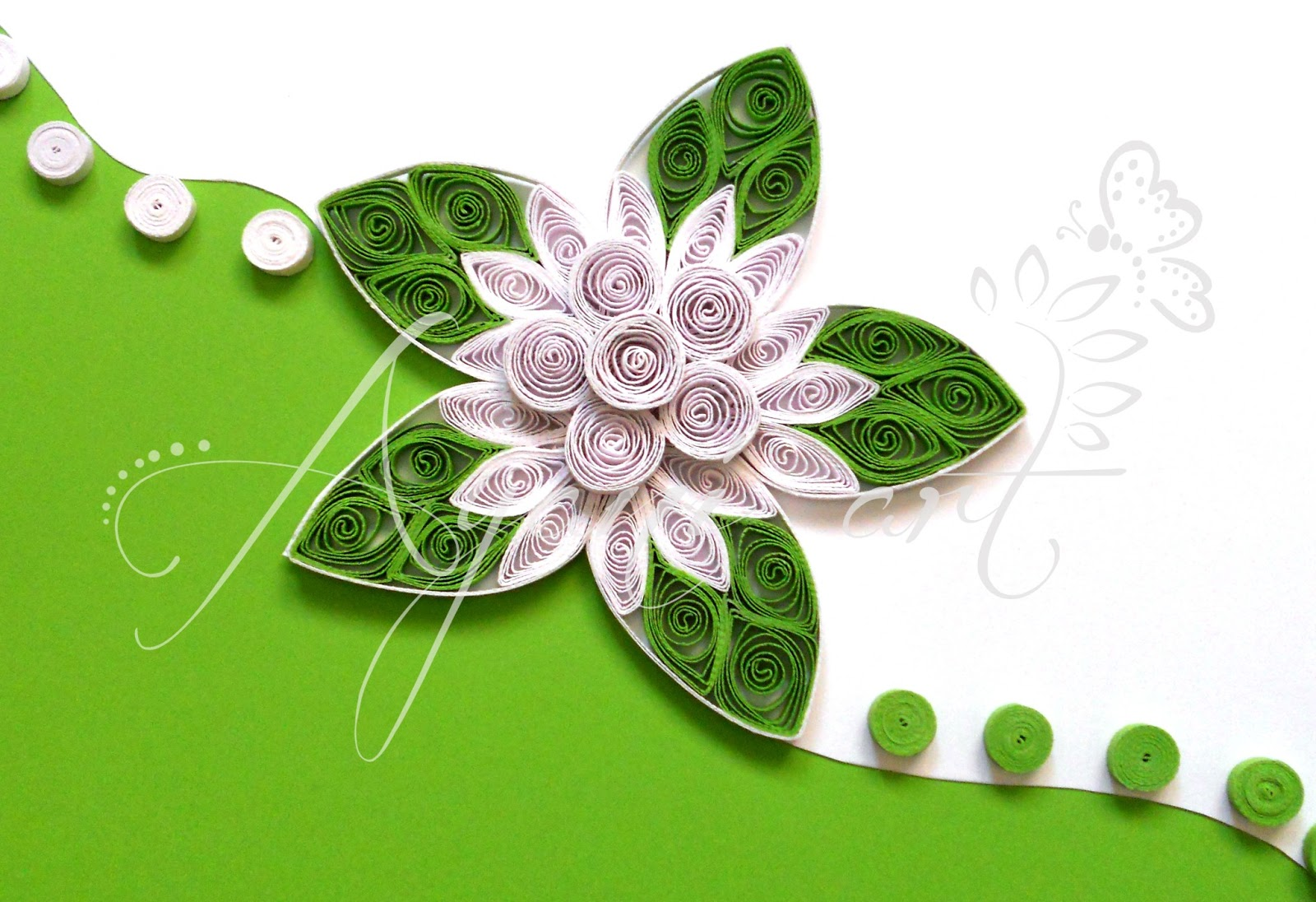 Green Quilled Wedding Invitation