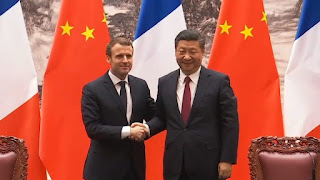 French president Emmanuel Macron meets China's Xi Jinping in Beijing (Screenshot, Elysee) Click to Enlarge.