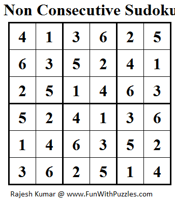 Non Consecutive Sudoku (Mini Sudoku Series #20) Solution