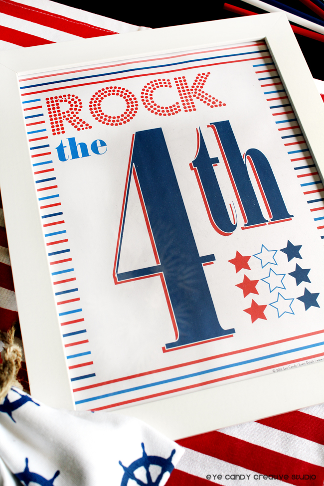 red white & blue, american art print, 4th of july, rock the 4th, stars