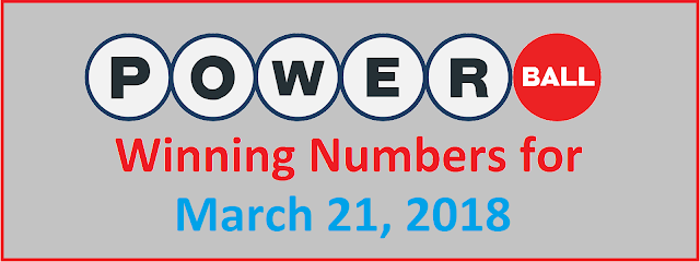 PowerBall Winning numbers for Wednesday, 21 March 2018