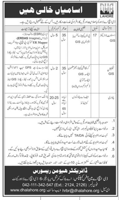 DHA Lahore Jobs 2019 Defence Housing Authority